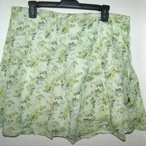 Abercrombie & Fitch Green Floral A-Line Skirt